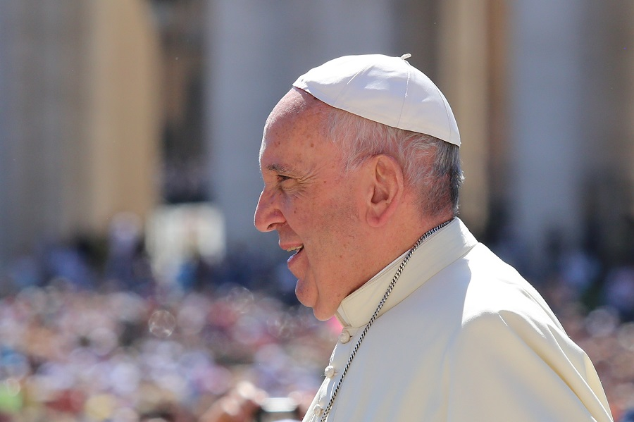 Pope Francis addresses the audience at a sermon given during his visit to Poland. Image Credit: Catholic News Agency