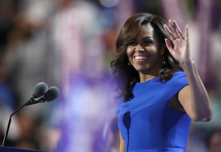 The speech of the United States First Lady Michelle Obama was as touching as it was moving for the audience at this year's Democratic National Committee. FLOTUS praised Hillary Clinton for the 2016 presidential race and brought up serious matters like police shootings and racism. Image Credit: Think Progress
