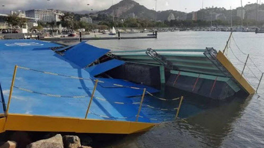 Luckily for sailing teams, the ramp's collapse occurred prior to the event's first competition. Image Credit: Word Wide of Sports