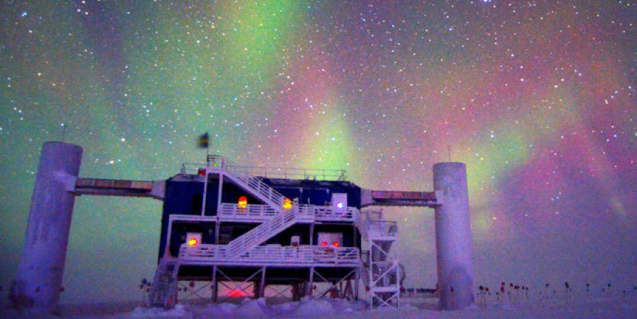 The IceCube laboratory at the Scott Amundsen South Pole station is dedicated to find the evasive neutrino particle. Image Credit: Huffington Post