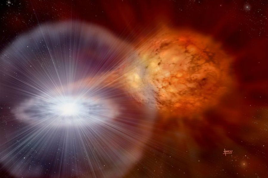 An artist's depiction of a classical nova as seen from space. Image Credit: Phys