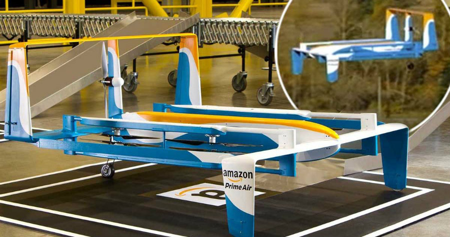 Besides the Amazon One,  the delivery company giant has rolled out its Prime Air drone for remote shipping. Image Credit: Mirror