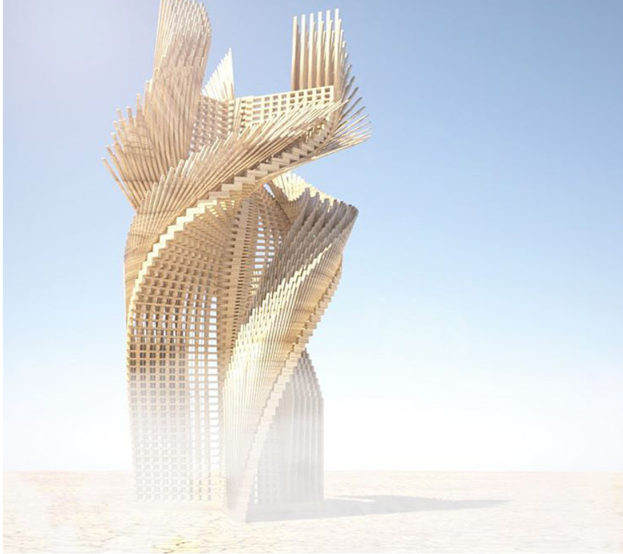 """'Tangential Dreams"" is an architectural installation that hopes to come to the playa this year. The 30-foot tall twisting tower with inspiring sentences written by Burners around the world is partly funded by the Burning Man Arts Grant and is now running a #kickstarter campaign to complete its fundraising,"" wrote @burningman. Image credit: @mamoumani"