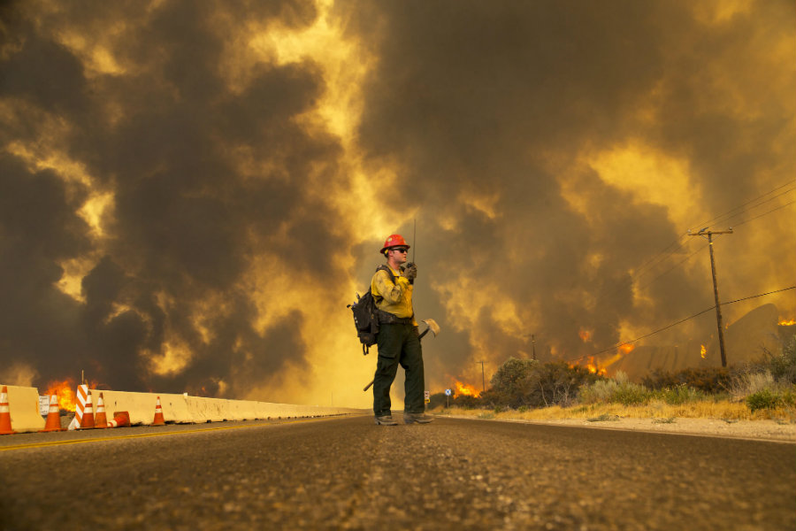 The Blue Cut fire, one of the greatest fires to ever occur in the southern region of California has forced a statewide call for firefighting authorities as it crept along San Bernardino County. Photo credit: Gina Ferazzi / Los Angeles Times