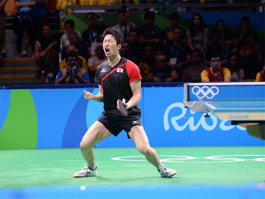 Jun Mizutani from Japan defeatsed Marcos Freitas from Portugal in the Rio Olympics 2016. Photo credit: ITTF / Konno Noboru /Butterfly Online