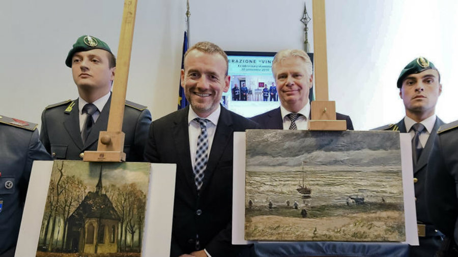 "The paintings are ""Seascape at Scheveningen,""(right), and ""Congregation Leaving the Reformed Church in Nuenen,"" (left). Photo credit: Ciro Fusco / ANSA via Associated Press / Los Angeles Times"