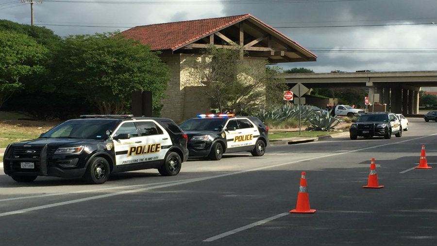 San Antonio Police Department crowded La Cantera Parkway after several people reported that someone was shooting at the passing cars. Photo credit: KSAT