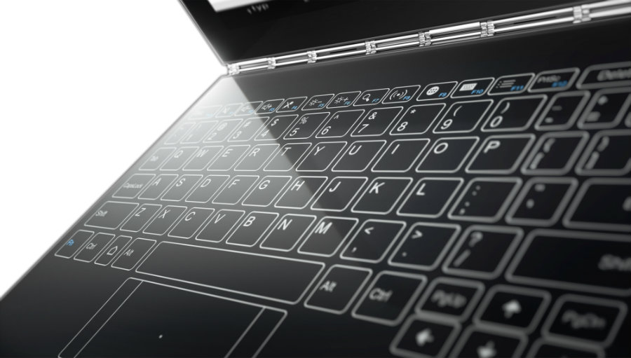 The Yoga Book's keyboard appears on the matte black surface of the device as a glowing touchpad keyboard. Photo credit: PhoneArena.com