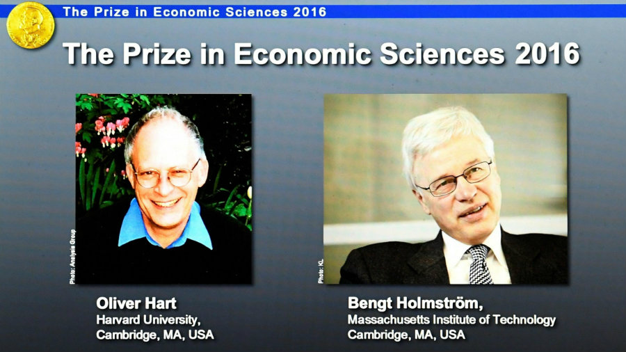 The Nobel Prize in Economics was awarded to Oliver Hart and Bengt Holmstrom. Photo credit: Jonathan Nackstrand / AFP / Getty Images / KPCW