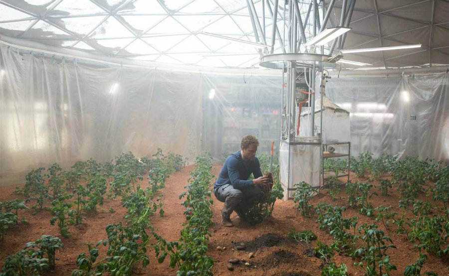 NASA is using advances in science to learn how to increase plant production in extreme conditions. Photo credit: The Martian / Modern Farmer