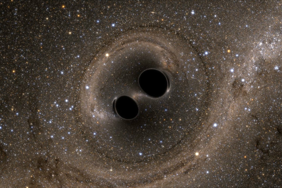 A gravitational wave is a ripple in spacetime caused by the collision of two or more black holes. Photo credit: Simulating eXtreme Spacetimes / The Physics Mill