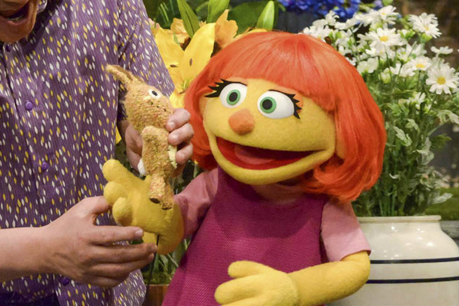 Julia is Sesame Street's new autistic character. Image credit: Zach Hyman / Sesame Workshop via AP / NBC News