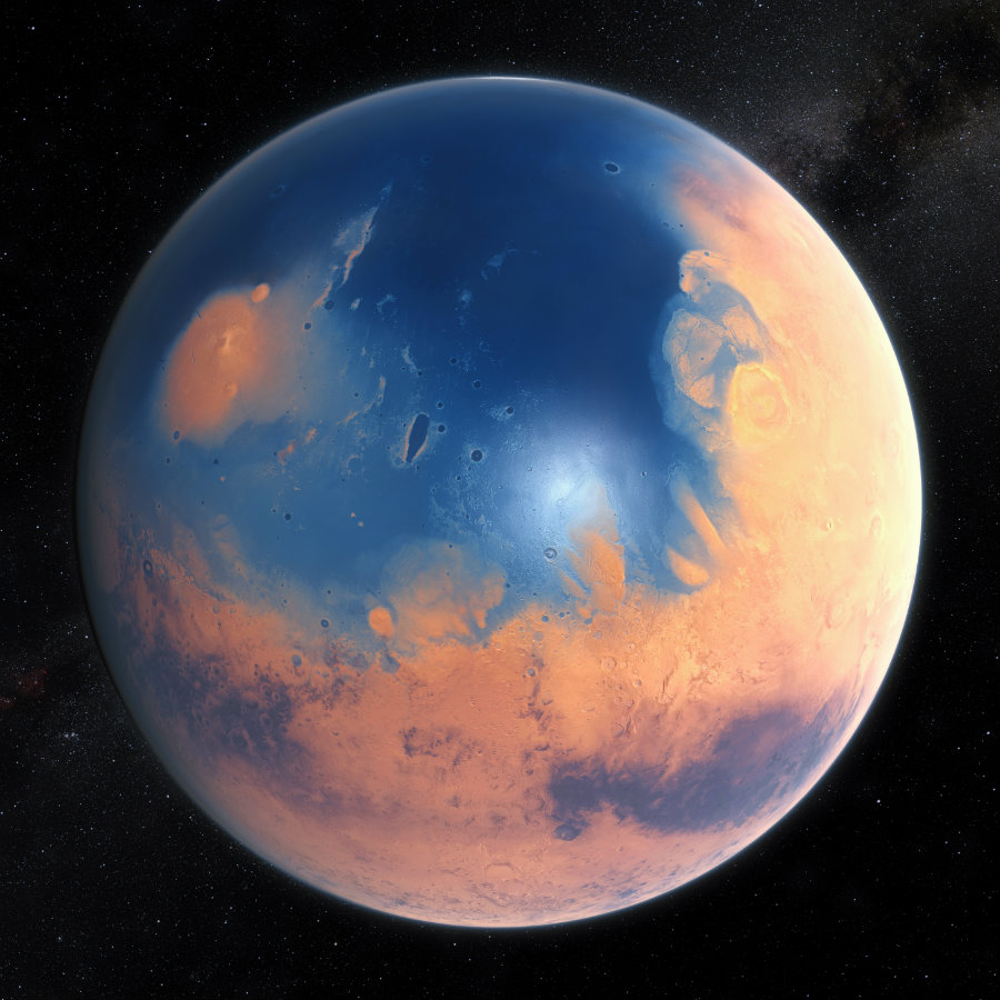 The fact that the planet possessed water at some point in its history is commonly accepted, but where and how much water there was are questions that remain unanswered. Image credit: ESO / M. Kornmesser / N. Risinger (skysurvey.org), Creative Commons / Harvard University, SITN