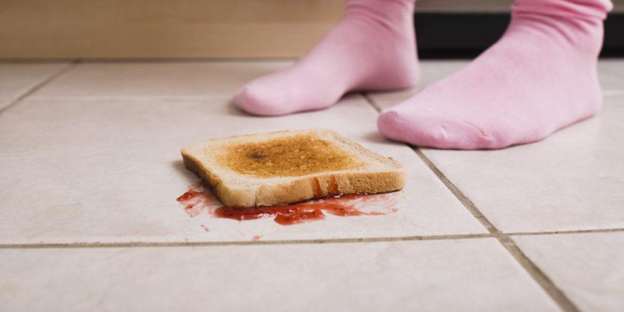 Jelly toast on floor