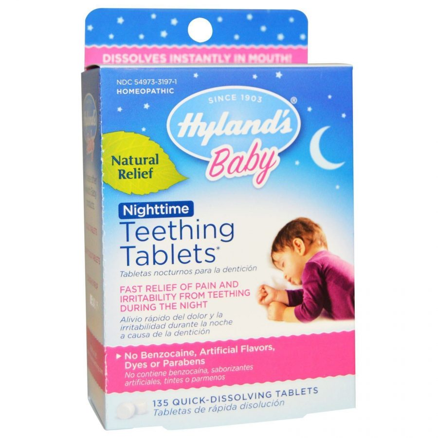 Nighttime baby teething tablets
