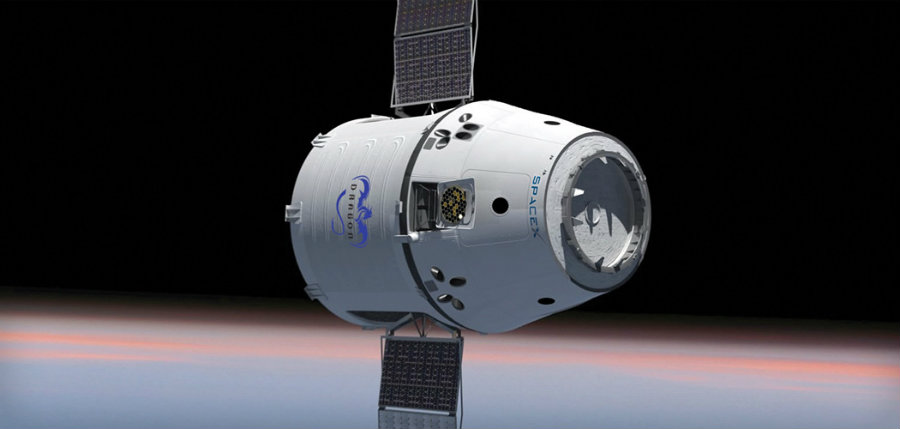 A Dragon capsule while in orbit.  Image credit: SpaceX