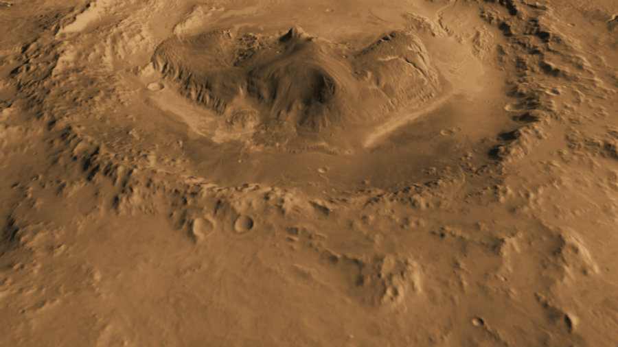 Researchers discovered that the Gale Crater on Mars once harbored a lake, in which life could have thrived. Image credit: NASA