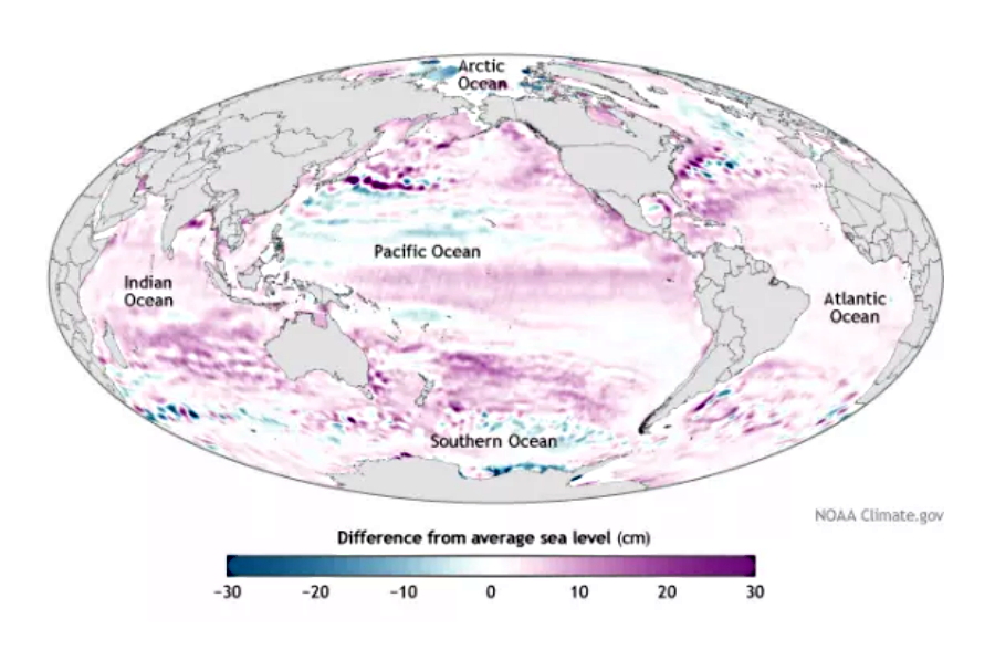 Sea level rise comparison from 1993 up to 2013. Image Credit: National Oceanic and Atmospheric Administration, Climate.gov