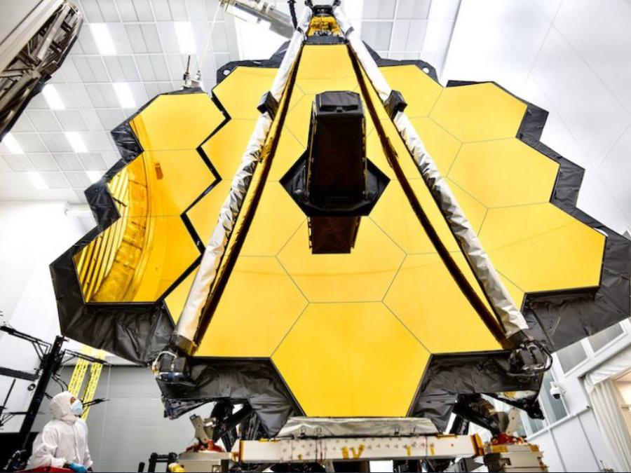 James Web Space Telescope's massive 6.5-meter primary mirror. Image Credit: NASA/Chris Gunn