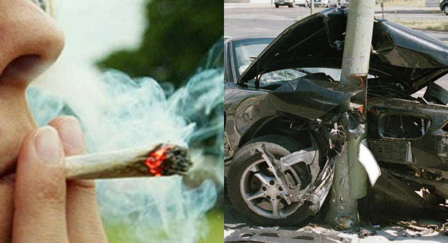 A new insurance study links increased car crash claims with legalized recreational marijuana.  Image credit: Conservative Post