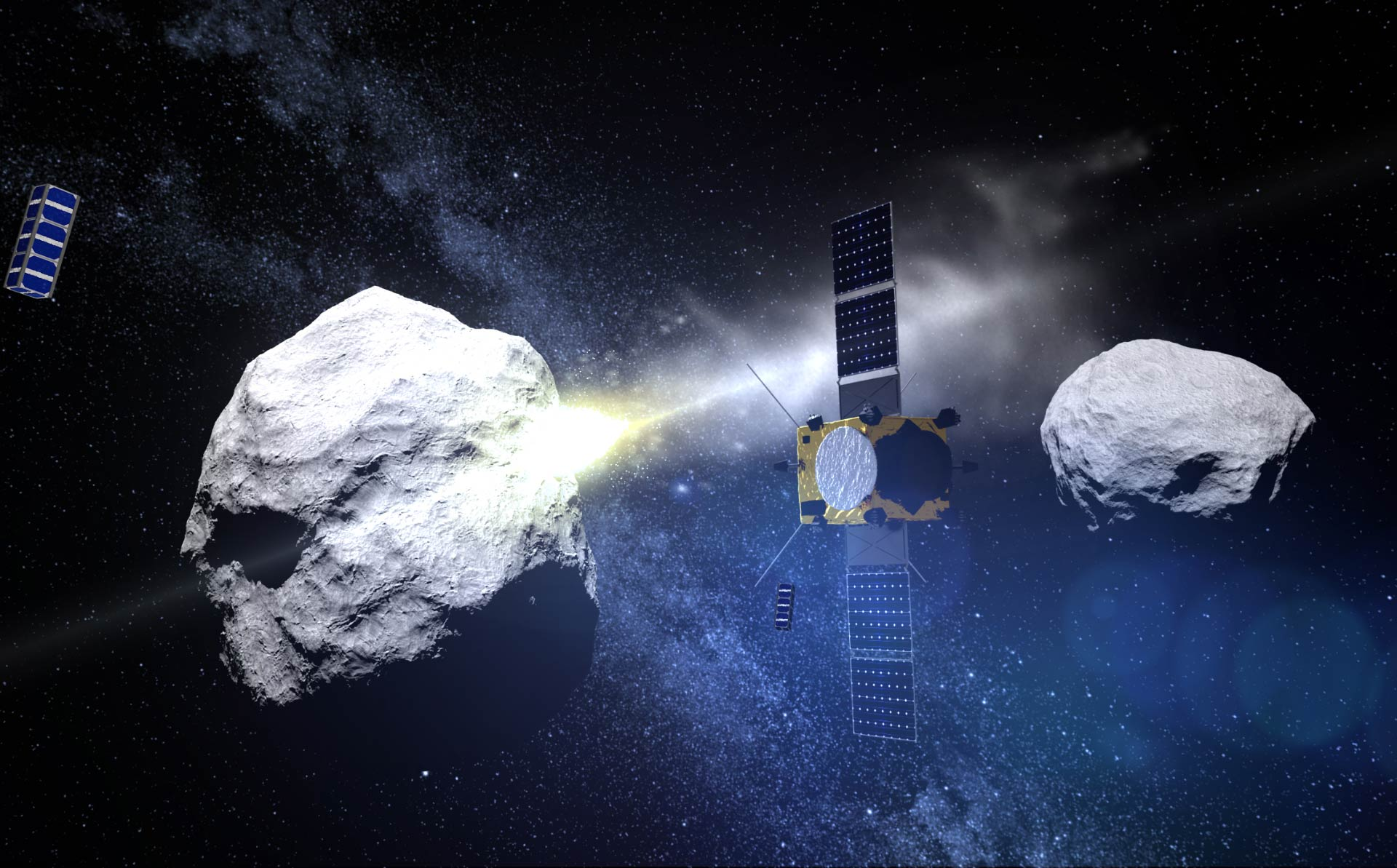 DART will try to repel asteroids from continuing their way towards the Earth. Image credit: ESA / Science Office / Sci-News