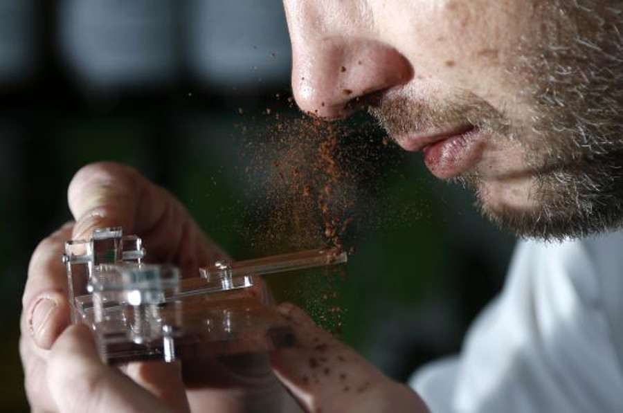 """The """"Chocolate Shooter,"""" manufactured by Persoone. Image Credit: Francois Lenoir/REUTERS"""