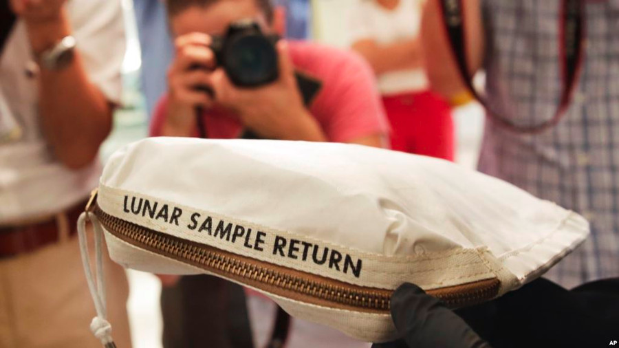 Neil Armstrong's lunar sample bag. Image Credit: Jewel Samad / Getty Images