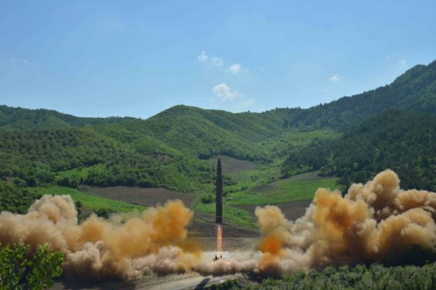 The Hwasong-14 missile during its test launch. Image Credit: KCNA / Reuters