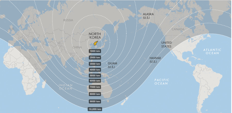 North Korea's ballistic missile reach. Image Credit: USA Guam