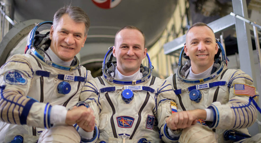Paolo Nespoli (left), Sergey Ryazanskiy (center), and Randy Bresnik. Image credit: NASA / Bill Ingals