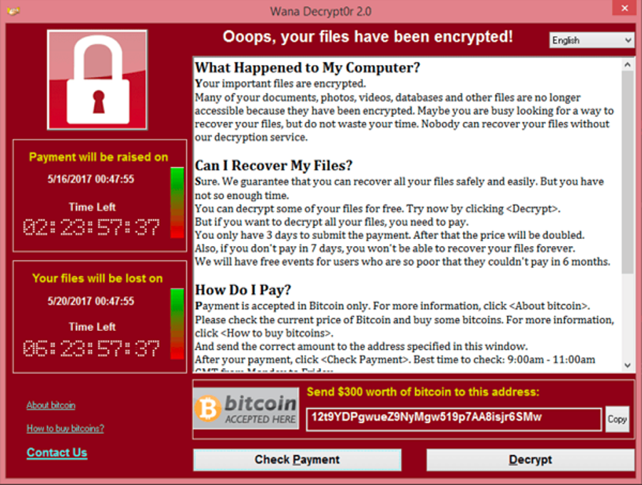Screenshot of the WannaCry ransom letter. Image Credit: SecureList
