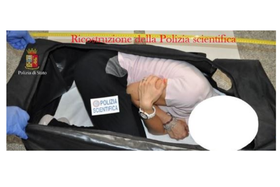 The woman was drugged, handcuffed and locked in a bag and then into the back of a car. Image Credit: Italian Police / Polizia Di StatoThe woman was drugged, handcuffed and locked in a bag and then into the back of a car. Image Credit: Italian Police / Polizia Di Stato