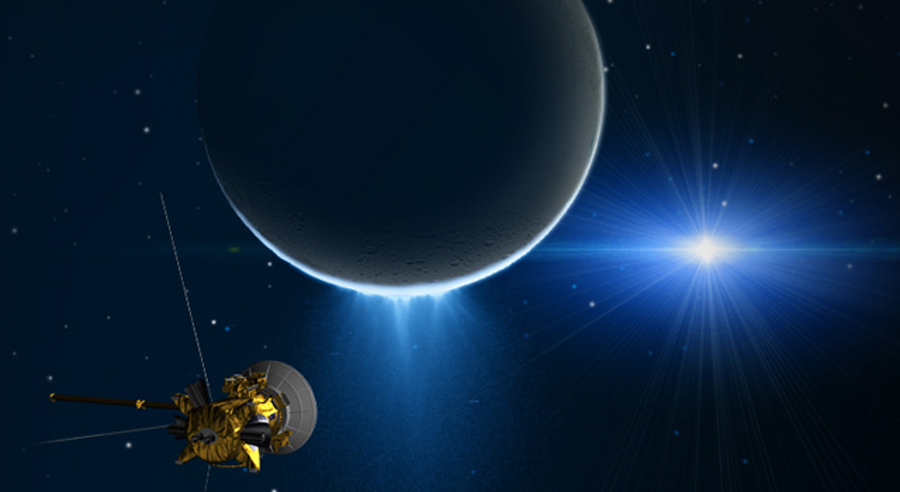 Cassini measuring the gravitational pull of Enceladus. Image Credit: NASA Jet Propulsion Laboratory