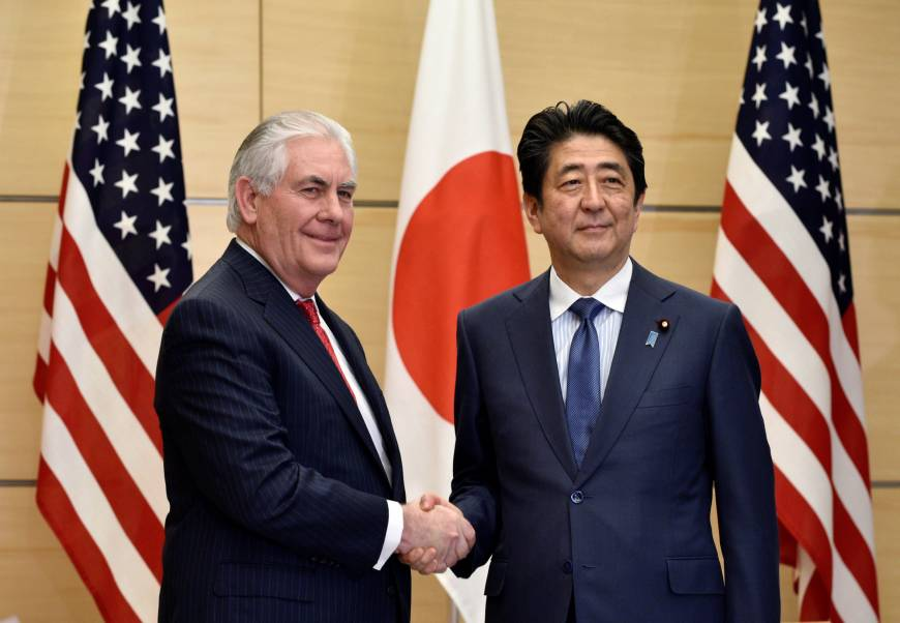 Rex Tillerson meeting with Japanese Prime Minister Shinzo Abe. Image Credit: Japan Times