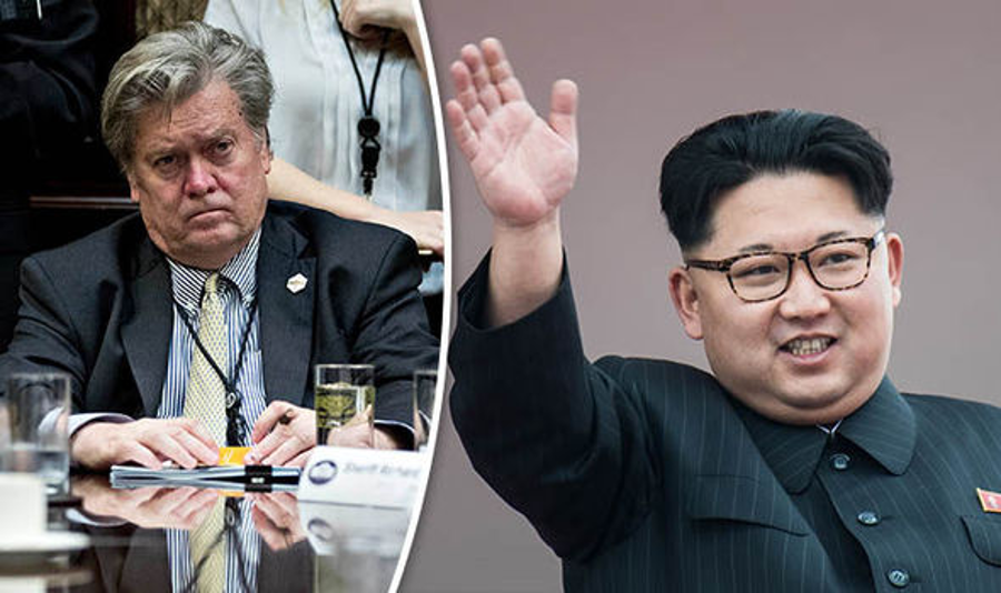 White House Chief Strategist Steve Bannon and North Korea's Supreme Leader Kim Jong-Un. Image Credit: Daily Express