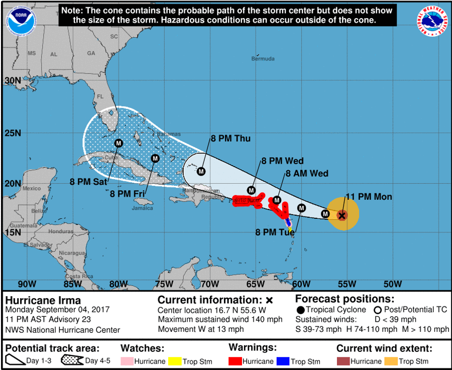 Hurricane Irma's trajectory and relative wind speed. Image Credit: NOAA / NPR