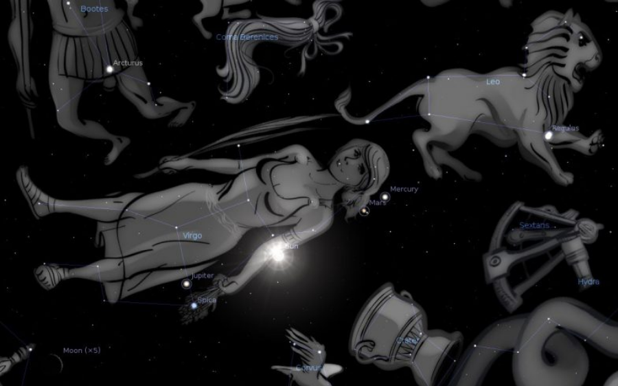 The Virgo constellation, the woman, will soon have the Moon at her feet and the 12 stars of Leo on her head. Image Credit: EarthSky