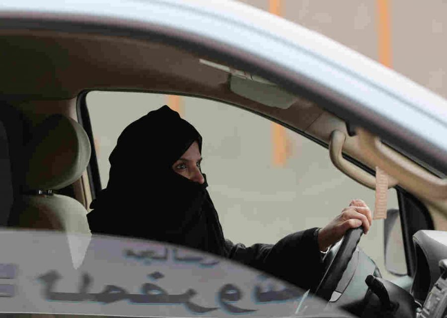 Saudi women driving a car as a sign of protest in 2014. Image credit: AP