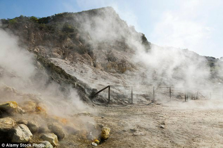 The volcanic caldera is called Campi Flegrei, which last erupted centuries ago. Image credit: Alamy / Daily Mail