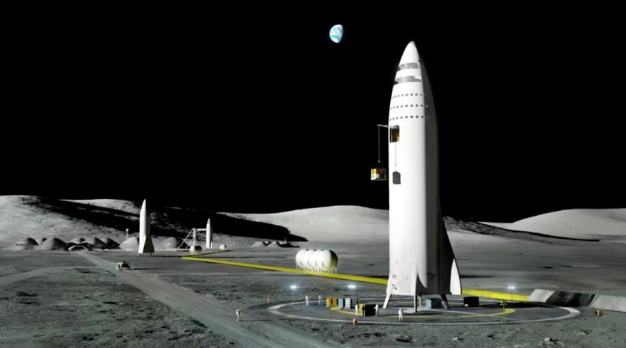 An artist's rendition of Moon Base Alpha with the BFR. Image credit: SpaceX