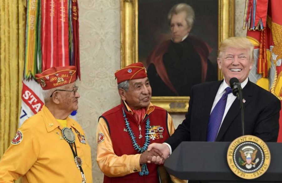 Senator Elizabeth Warren, President Donald Trump, Native American code talkers, White House racial slur