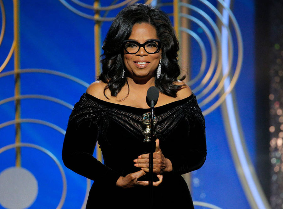 Time's Up and #MeToo movements, Men and women wear black at the Golden Globe 2018, All men nominees, Oprah Winfrey, Natalie Portman
