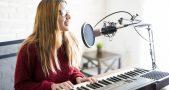 Woman Singing Song Playing Piano