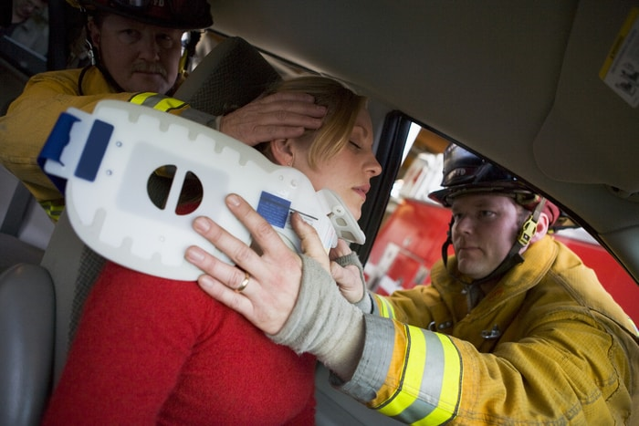 Firefighters Saving Woman In Car Accident