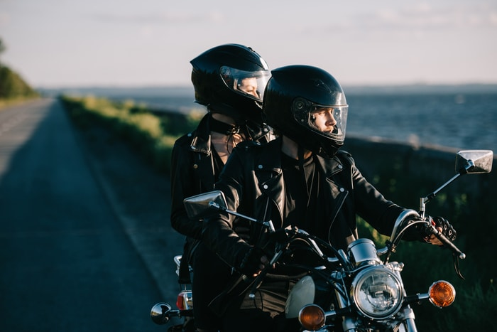Bikers Wearing Helmets