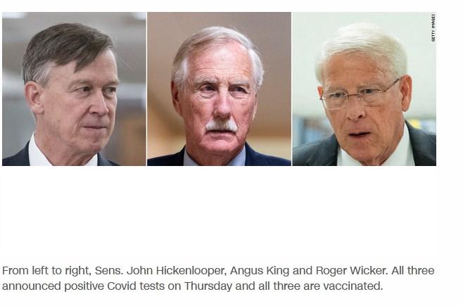 Senators Angus King, Roger Wicker, and John Hickenlooper Test Positive for COVID-19